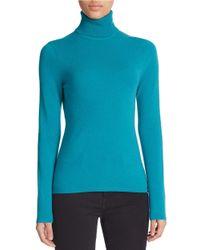 Lord & Taylor Blue Petite Cashmere Turtleneck Sweater