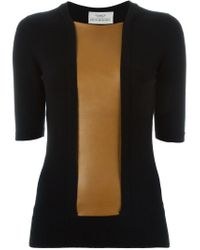 Pringle of Scotland - Black Leather Panel Sweater - Lyst