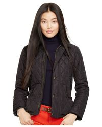 Polo Ralph Lauren | Black Suede-trim Quilted Jacket | Lyst