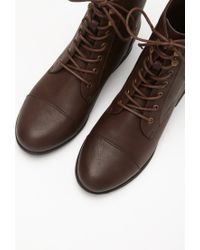 Forever 21 - Brown Lace-up Faux Leather Boots - Lyst