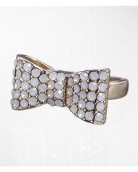 Express Metallic Pave Bow Ring