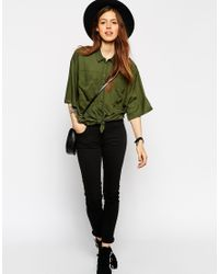 ASOS - Green Boxy Oversize Shirt With Tie Front Detail - Lyst
