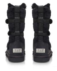 UGG Black Leather Beckett Sheepskin Strap Boots