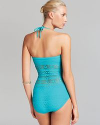 Robin Piccone Blue Swimsuit Penelope One Piece with Sheer Waist