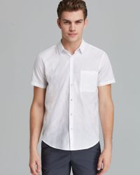 Theory White Emer S Felton Short Sleeve Button Down Shirt - Slim Fit for men
