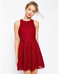 ASOS | Red Bonded Lace High Neck Lantern Mini Dress | Lyst