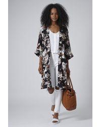 TOPSHOP - Black Fantasy Floral Kimono - Lyst