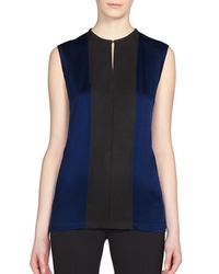 Lanvin | Black Silk & Grosgrain Blouse | Lyst