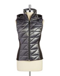 BCBGeneration | Gray Hooded Quilted Puffer Vest | Lyst