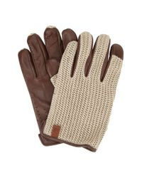 Ben Sherman | Brown Knit & Leather Driving Gloves for Men | Lyst