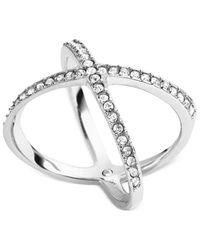 Michael Kors | Metallic Silver-Tone Clear Crystal Midi X Ring | Lyst