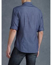 John Varvatos Blue Zipper Pocket Sport Shirt for men