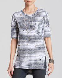 Free People - Blue Shirt - Shredded Stripe - Lyst