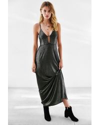 Oh My Love | Metallic Caged Shimmer Maxi Dress | Lyst