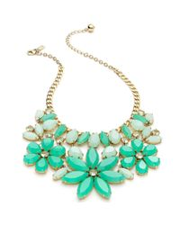 kate spade new york New York Goldtone Green Floral Statement Necklace