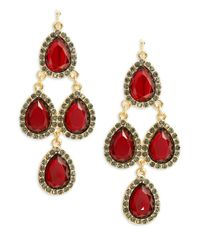 Cara | Red Faceted Teardrop Chandelier Earrings | Lyst