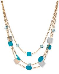 Kenneth Cole | Gold-Tone Mixed Blue Shell Bead Multi-Row Necklace | Lyst