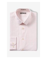 Express - Red Fitted Pin Dot Print Dress Shirt for Men - Lyst