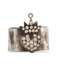 Irit Design | Metallic Silver Pave Cognac Diamond Heart & Crown Band Ring | Lyst