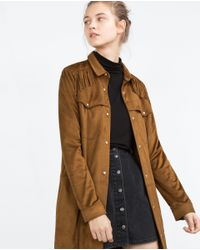 Zara | Brown Fringed Overshirt | Lyst