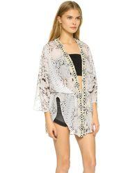 Haute Hippie Multicolor Chiffon Batwing Kimono - Buff Multi