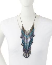 Nakamol - Blue Beaded Cascading Fringe Bib Necklace - Lyst