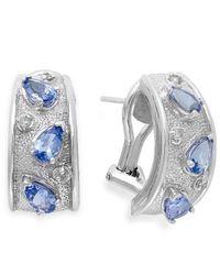 Macy's | Blue Tanzanite (1-1/3 Ct. T.W.) And Diamond (1-1/10 Ct. T.W.) Earrings In Sterling Silver | Lyst