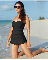 Gottex | Black Twist-front Bandeau One-piece Swimdress | Lyst