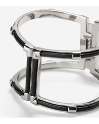 Cole Haan | Metallic T Bar Leather Inlay Hinge Bangle | Lyst