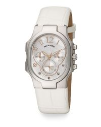 Philip Stein - White Classic Diamond, Mother-Of-Pearl & Embossed Leather Chronograph Watch - Lyst