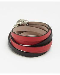 Alexander McQueen | Red And Black Triple Strand Skull Wrap Bracelet | Lyst