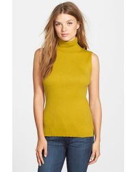 Vince Camuto | Green Sleeveless Ribbed Turtleneck Sweater | Lyst