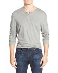 James Perse | Gray 'suvin Jersey' Long Sleeve Henley for Men | Lyst