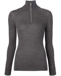 Alexander Wang - Gray Ball Chain Trim Sweater - Lyst
