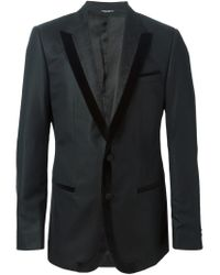 Dolce & Gabbana - Black Velvet Trim Jacquard Lapel Jacket for Men - Lyst