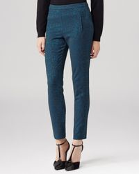 Reiss Blue Trousers - Bryony Jacquard Straight Leg