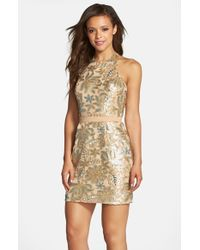 Dress the Population | Metallic 'scarlett' Sequin Chiffon Halter Dress | Lyst