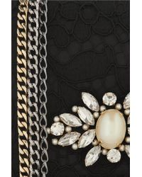 Dolce & Gabbana - Black Karlie Small Embellished Lace and Satin Shoulder Bag - Lyst