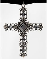 ASOS - Black Gothic Cross Choker Necklace - Lyst