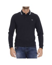 Fred Perry | Blue T-shirt Polo Mesh Long Sleeve Contrast for Men | Lyst