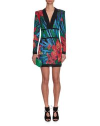 Balmain | Black Long-sleeved Floral-jacquard Mini Dress | Lyst