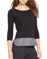 Lauren by Ralph Lauren | Black Layered Crewneck Sweater | Lyst