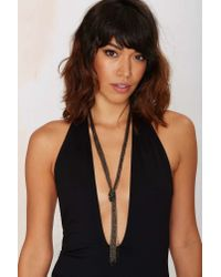 Nasty Gal | Metallic Adriana Chain Lariat Necklace | Lyst