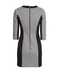 H&M White Dogtooth-Patterned Dress