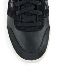 DIESEL | Black Leather Amnesia Resolution Sneakers for Men | Lyst