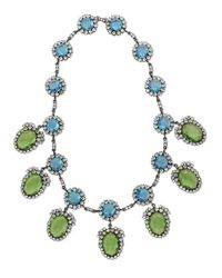Kenneth Jay Lane   Blue Aquamarine & Peridot Drop Necklace   Lyst