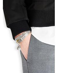 Alexander McQueen | Metallic Checked Skull Leather Wrap Bracelet for Men | Lyst