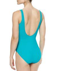 Gottex - Blue Lattice-wrapped One-piece Swimsuit - Lyst