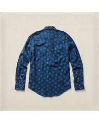 RRL Blue Printed Western Shirt for men