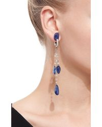 VBH Blue Diamond Bead And Sapphire Drop Earrings